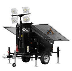 Torre de luz móvel com o painel do Sistema Solar