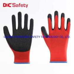 10g de látex de poliéster recubierto de ondulada industrial de mano de obra de jardín guantes de seguridad