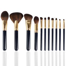 Etiqueta Privada Banheira de venda de produtos cosméticos Escova 12PCS Escovas de maquiagem sintético pega de madeira de cor preta Eyeshadow Makeup Ajuste da Escova