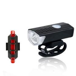 ブライトバイシクルヘッドライトとテールライト LED マウンテンバイクブラック防水 フロントランプ USB 充電自転車赤色安全警告灯テールランプ スーツセット Esg13329.
