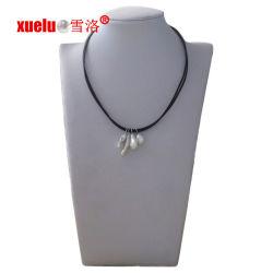 方法4PCSバロック式の自然な真珠のペンダントが付いている二重ストリング革ネックレス