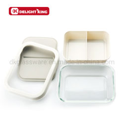 Due--Un Nel contenitore di alimento di plastica di vetro contenitore rovesciabile immagazzinato di pacchetto dell'alimento della casella di pranzo di Reusaable Bento grande