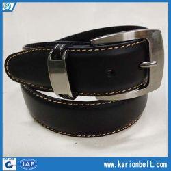 Cinto de couro dividido para homens com cinta de costura único loop Metálico e Prata fivela. Várias cores são disponíveis (40-13282)