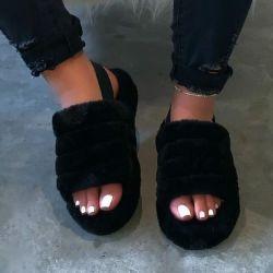 Women Fur Wedge Slippers met Ankle Elastic Band Open Teen Winter slides Home Slipper pluche Slip-on Fluffy warme Slippers voor binnen Comfortabele Esg14287