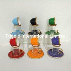 Goldenes Tee-Set von 6 - enthält 6 Gläser, 6 Saucers-Halter - VIP-spezielle Umhüllung-türkische Tulpe - arabisch, marokkanische Kaffee-Sets - Maschinen-waschbares Cup, Becher-Gold