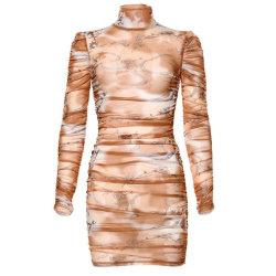 여성용 메쉬 주름 드레스 긴팔 바디콘 섹시 클럽웨어