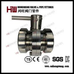 스테인리스 스틸 위생 식품용 수동 수 나사산 버터플라이 밸브 유니언 엔드 포함(HW-BFV 1003)