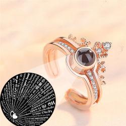 De luxe nam de Gouden Uitstekende Juwelen 100 Talen I van het Huwelijk van het Geheugen van de Liefde van de Ring van de Kleur Romantische Liefde u de Ring van de Projectie toe