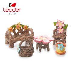 庭のクラフトの植木鉢のおもちゃの家の5つの樹脂のチェアーテーブルの妖精の庭の妖精の装飾セット