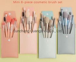 Конфеты цвета деревянной ручкой продуктов 8PCS макияж комплект щетки с Wallet