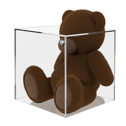 覆いを取られたアクリルの人形の球の貯蔵の立方体箱