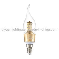 Golden et Candle Light LED chromé avec E14 titulaire à partir de 3W à 5W avec Shell de verre