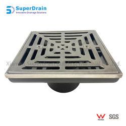 Drenaggio del quadrato dell'acciaio inossidabile con la base di plastica della Manica