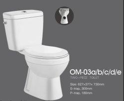 Économique vers le bas de lavage en deux pièces de céramique sanitaire (No. OM-03)