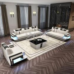 أثاث منزلى غرفة معيشة داخلية حديثة وأثاث أريكة جلدية لضبط مع مصابيح LED
