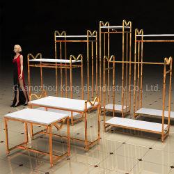 금속 전시 선반 로즈 금 거는 옷 진열대