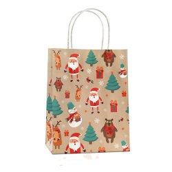 Los envases de Navidad papel de embalaje de la estraza Xmas Goody caramelos bolsas de regalo con el Real Glitter Imprimir