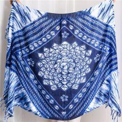 Femme Tirante étnicas tingidos de azul de lenços de férias com sobremedida Bohemian Hijab Boho Xale borlas para a Primavera e Verão