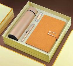 Geschäfts-Geschenk-Tagebuch-Notizbuch mit Thermos-Cup und Feder und USB-Geschäfts-Geschenk stellten mit Firmenzeichen ein