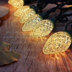 C7 Diamond Strawberry 100L إضاءة صغيرة بيضاء دافئة C7 حفل تزيين مصباح LED الخاص بالحيوانات الأليفة في عيد الميلاد