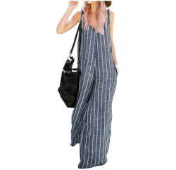 Linnen Jumpsuit van de Streep van het Been van de zomer het Brede voor Vrouwen