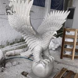 A decoração da casa lado entalhado mármore Escultura Animal Garden Stone Eagle Estátua Masg-40