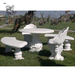 Esterno lussuoso stile occidentale pietra bianca moderna marmo tavolo e. Banco MTC-13