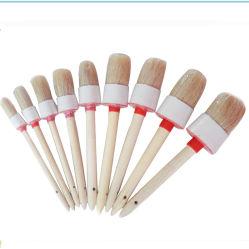 Mélange de soie blanche Ronde Pinceau manche en bois (GMPB020)