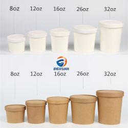 12oz desechables, sopa de papel Kraft recipiente con tapa de plástico o papel de la Copa de la Sopa de papel