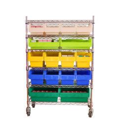 プラスチック棚の大箱のための鉄のワイヤ記憶装置ラックトロリー