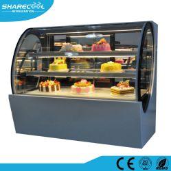 ガラスヒーターが付いている特別な形のケーキのショーケース