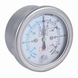مقياس قياس ضغط الكبسولة من الفولاذ المقاوم للصدأ للغاز/السوائل، نطاق المقياس المركب