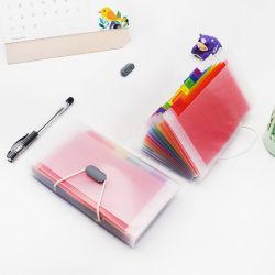 Venta caliente PP Color Arco Iris de gran capacidad de archivo de la ampliación de la ampliación de cartera con elástico