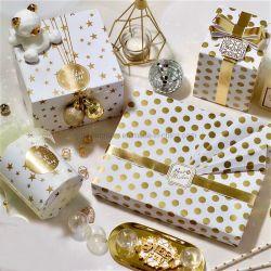 В НАЛИЧИИ НА СКЛАДЕ 100g 50x70см белого золота упаковочная бумага Рождество подарком праздник подарок упаковочная бумага Star, точка, Саржа из упаковки бумаги