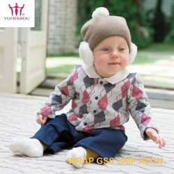 Kinder Breathable Longsleeve Knit-Strickjacke-Wolljacke mit Taste