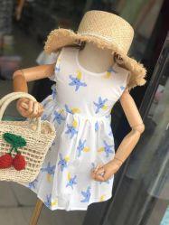 Los niños Ropa de verano infantil de stock de vestidos de algodón estampados vestido de niña Ropa de niños lindos niños Princesa belleza prendas de vestir