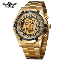Vencedor 274 Jornal Golden Automatic ver homens Tira de aço esqueleto crânio relógios mecânicos marca superior por grosso de Luxo