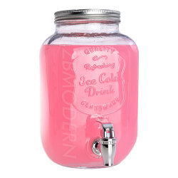Dispenser di bevande in vetro da 1 gallone, vaso in vetro Mason da 3.8 l Contenitore di stoccaggio con coperchio ermetico in metallo supporto metallico