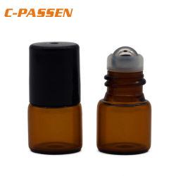 Aceite esencial de botellas de vidrio el rodillo Mini Pequeño vacío rellenable de aromaterapia de vidrio ámbar líquido Perfume Rollo en viales de botellas botellas metálicas Rollerball Jar (1ml)