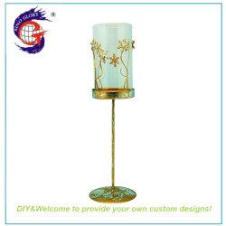 Métal bon marché Tall porte-bougie votive en verre de décoration de bureau