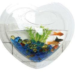심혼 모양 벽 커튼 물고기 사발 잘 고정된 수족관