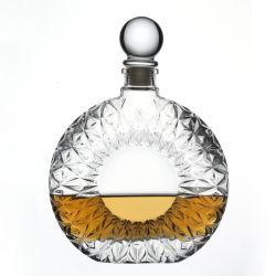 스피리츠 보드카를 위한 맞춤형 스타일 원형 팬시 와인 병 유리 덮개 포함 주류 500ml 도매