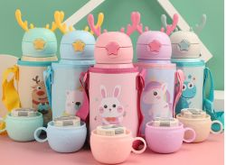 500ml Flask 304 Stainless Steel Mug Creative Vacuum Water Cup Cute Mini Pot Belly Cup Baby Thermos Two Caps Can는 Changed있다