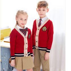 Зимние европейского стиля Великобритании детей школьной формы пружины осенью трикотаж Вязаная кофта свитер единообразных