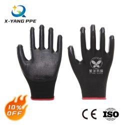 13 غ، بطانة البوليستر، أسود نيتريل / PU / Latex، يعمل سلامة العمل قفازات صناعية يدوية مع CE