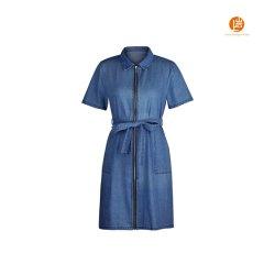Les femmes Shangyan Slim Full Zip Short Sleeve Mini Jupe Denim Jean robe avec la courroie