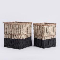 جمليًا، أسود مخصص، مستطيل الشكل، مصنوع من الخيزران ويلو من خشب الروطان سلة الغسيل المخصصة للأطفال في Storage Organizer