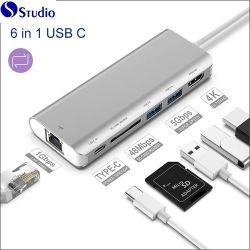 Sortie HDMI 4K C de type C USB Hub pour HDMI + avec adaptateur Ethernet USB 3.0 6en1 C Hub USB