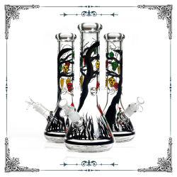 Bécher de verre de 7 mm de gros de dessin à la main Art narguilé Heady Shisha pipes à eau en verre