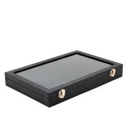 Бархатный чехол со стеклянной крышкой украшения кольцо дисплея держатель лотка коробка для хранения данные органайзера